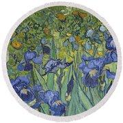 Irises Round Beach Towel by Vincent Van Gogh