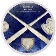 1838 Baseball Drawing 2 Tone Blue Round Beach Towel by Jon Neidert