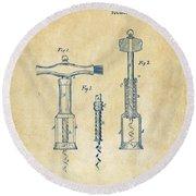 1876 Wine Corkscrews Patent Artwork - Vintage Round Beach Towel by Nikki Marie Smith