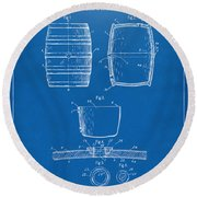 1898 Beer Keg Patent Artwork - Blueprint Round Beach Towel by Nikki Marie Smith