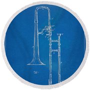 1902 Slide Trombone Patent Blueprint Round Beach Towel by Nikki Marie Smith