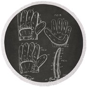 1910 Baseball Glove Patent Artwork - Gray Round Beach Towel by Nikki Marie Smith