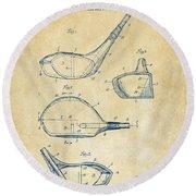 1926 Golf Club Patent Artwork - Vintage Round Beach Towel by Nikki Marie Smith