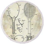 1927 Tennis Racket Patent Drawing  Round Beach Towel by Jon Neidert
