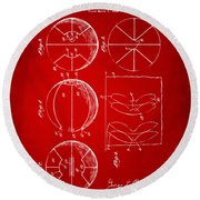 1929 Basketball Patent Artwork - Red Round Beach Towel by Nikki Marie Smith