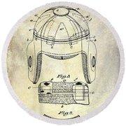 1929 Football Helmet Patent Drawing Round Beach Towel by Jon Neidert