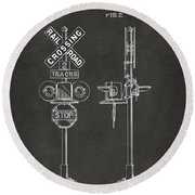 1936 Rail Road Crossing Sign Patent Artwork - Gray Round Beach Towel by Nikki Marie Smith