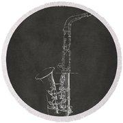 1937 Saxophone Patent Artwork - Gray Round Beach Towel by Nikki Marie Smith
