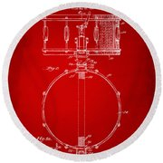 1939 Snare Drum Patent Red Round Beach Towel by Nikki Marie Smith
