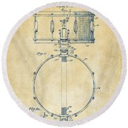 1939 Snare Drum Patent Vintage Round Beach Towel by Nikki Marie Smith