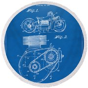1941 Indian Motorcycle Patent Artwork - Blueprint Round Beach Towel by Nikki Marie Smith