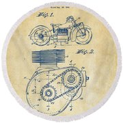 1941 Indian Motorcycle Patent Artwork - Vintage Round Beach Towel by Nikki Marie Smith