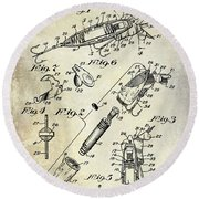 1940 Illuminated Bait Patent Drawing Round Beach Towel by Jon Neidert