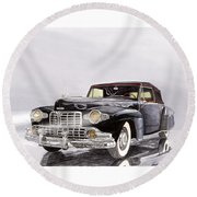 1946 Lincoln Continental Convertible Foggy Reflection Round Beach Towel by Jack Pumphrey