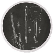 1951 Fender Electric Guitar Patent Artwork - Gray Round Beach Towel by Nikki Marie Smith