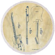 1951 Fender Electric Guitar Patent Artwork - Vintage Round Beach Towel by Nikki Marie Smith