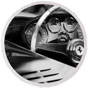 1954 Ferrari 500 Mondial Spyder Steering Wheel Emblem Round Beach Towel by Jill Reger