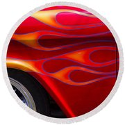 1955 Chevy Pickup With Flames Round Beach Towel by Garry Gay