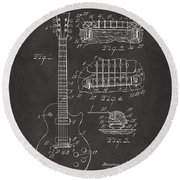1955 Mccarty Gibson Les Paul Guitar Patent Artwork - Gray Round Beach Towel by Nikki Marie Smith