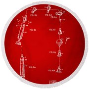 1963 Space Capsule Patent Red Round Beach Towel by Nikki Marie Smith