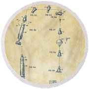 1963 Space Capsule Patent Vintage Round Beach Towel by Nikki Marie Smith