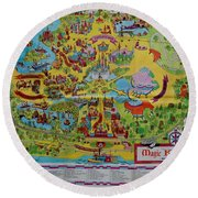 1971 Original Map Of The Magic Kingdom Round Beach Towel by Rob Hans