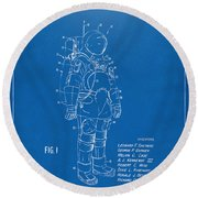 1973 Space Suit Patent Inventors Artwork - Blueprint Round Beach Towel by Nikki Marie Smith