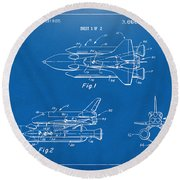 1975 Space Shuttle Patent - Blueprint Round Beach Towel by Nikki Marie Smith
