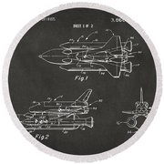 1975 Space Shuttle Patent - Gray Round Beach Towel by Nikki Marie Smith