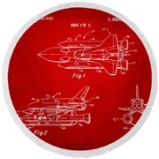 1975 Space Shuttle Patent - Red Round Beach Towel by Nikki Marie Smith