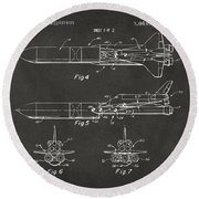1975 Space Vehicle Patent - Gray Round Beach Towel by Nikki Marie Smith
