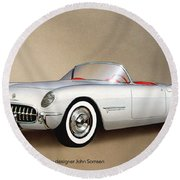 1953 Corvette Classic Vintage Sports Car Automotive Art Round Beach Towel by John Samsen