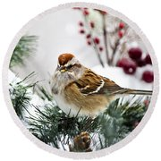 Christmas Sparrow Round Beach Towel by Christina Rollo