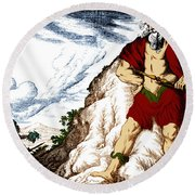 Atlas And Perseus, Greek Mythology Round Beach Towel by Photo Researchers