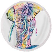 Colorful Elephant Round Beach Towel by Kovacs Anna Brigitta