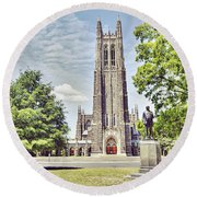 Duke Chapel In Spring Round Beach Towel by Emily Kay