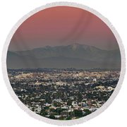 Elevated View Of Buildings In City Round Beach Towel by Panoramic Images
