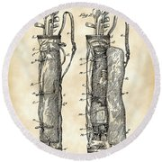 Golf Bag Patent 1905 - Vintage Round Beach Towel by Stephen Younts