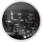 Gotham City - Los Angeles Skyline Downtown At Night Round Beach Towel by Jon Holiday