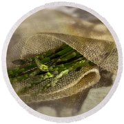 Green Asparagus On Burlab Round Beach Towel by Iris Richardson