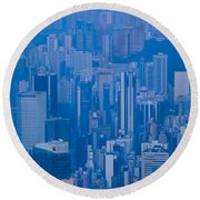 High Angle View Of Buildings Round Beach Towel by Panoramic Images
