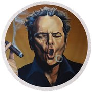 Jack Nicholson Painting Round Beach Towel by Paul Meijering