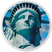 Lady Liberty Round Beach Towel by Jon Neidert