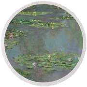 Nympheas Round Beach Towel by Claude Monet