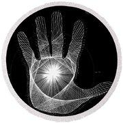 Quantum Hand Through My Eyes Round Beach Towel by Jason Padgett