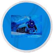 Royal Blue Express Round Beach Towel by Pjohn Artman