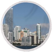 Skyline Miami Round Beach Towel by Christiane Schulze Art And Photography