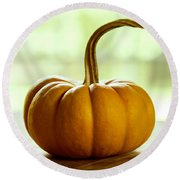 Small Orange Pumpkin Round Beach Towel by Iris Richardson