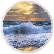 Splash Sunrise Round Beach Towel by Debra and Dave Vanderlaan