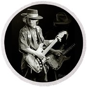 Stevie Ray Vaughan 1984 Round Beach Towel by Chuck Spang